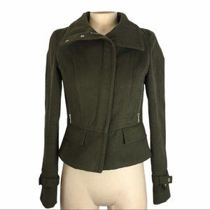 EXPRESS Dark Green Short Zip Up Pea Coat Size XS